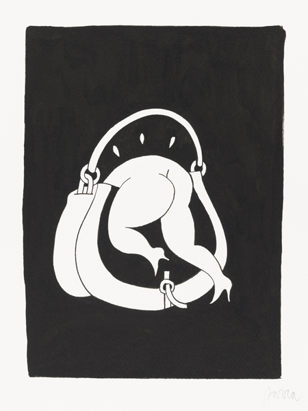 Parra    -  <strong>Women's Bag Problems</strong> (2012<strong style = 'color:#635a27'></strong>)<bR /> ink on paper,   12.625 x 9.5 inches  (32 x 24 cm)  16.25 x 13.125 x 1.25 inches, framed