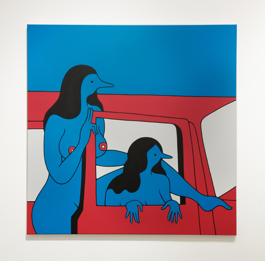 Parra  &nbsp -  <strong>Get Out of the Car Please</strong> (2014<strong style = 'color:#635a27'></strong>)<bR /> acrylic on canvas,   39 3/8 x 39 3/8 inches  (100 x 100 cm)