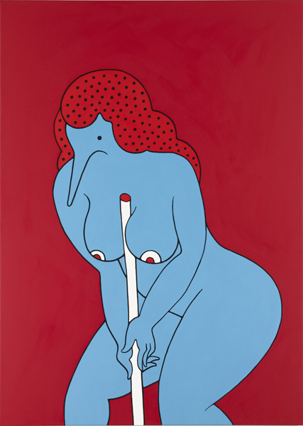 Parra  &nbsp -  <strong>Holding a Stick</strong> (2012<strong style = 'color:#635a27'></strong>)<bR /> acrylic on canvas,   55.125 x 39.375 inches  (140 x 100 cm)