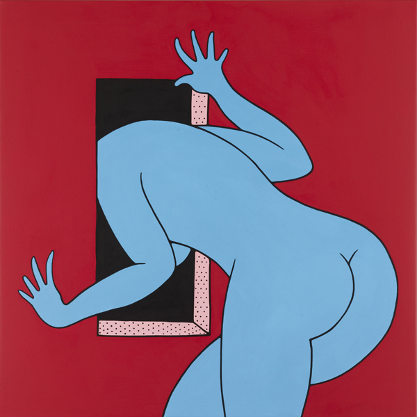 Parra    -  <strong>Look Out The Window Baby</strong> (2012<strong style = 'color:#635a27'></strong>)<bR /> acrylic on canvas,   39.375 x 39.375 inches  (100 x 100 cm)