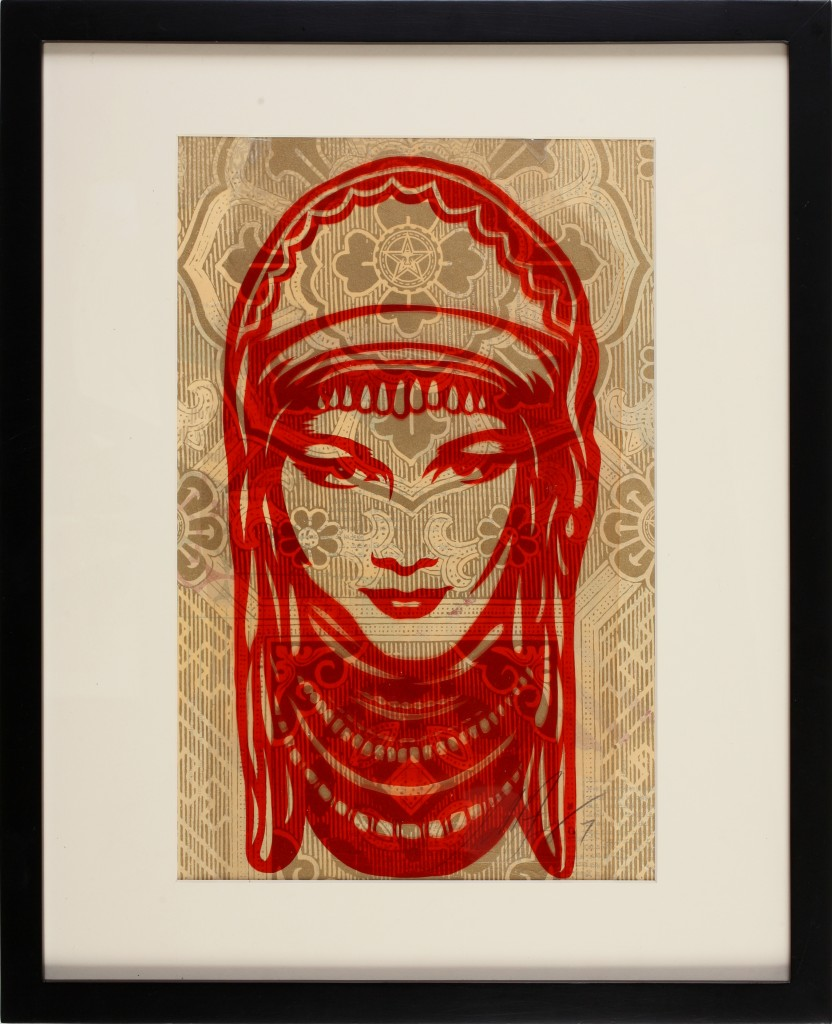 Shepard Fairey -  <strong>Peace Goddess</strong> (2007<strong style = 'color:#635a27'></strong>)<bR /> rubylith