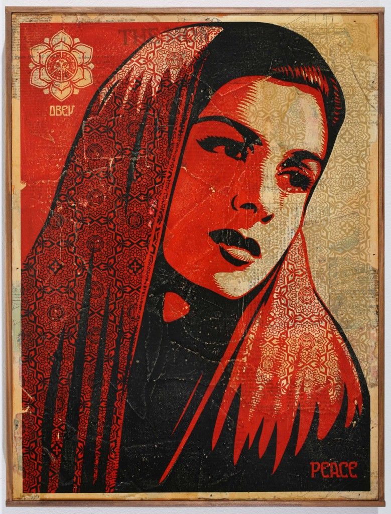Shepard Fairey -  <strong>Peace Mujer</strong> (2007<strong style = 'color:#635a27'></strong>)<bR /> hand painted multiple, silkscreen collage on wood