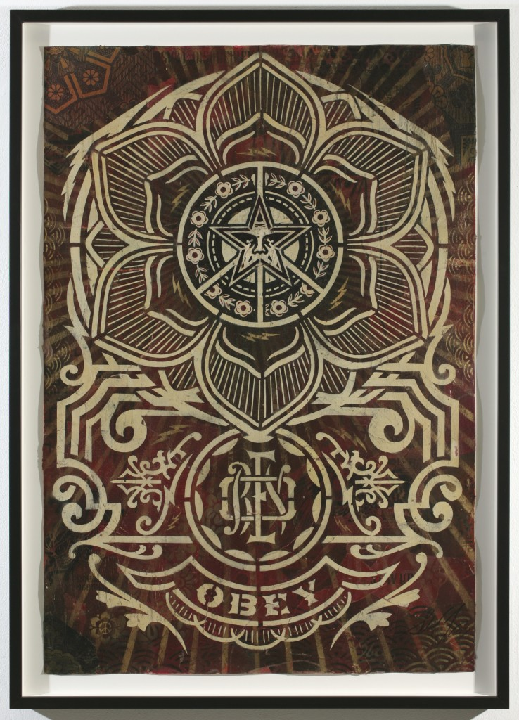 Shepard Fairey -  <strong>Peace Ornament</strong> (2007<strong style = 'color:#635a27'></strong>)<bR /> stencil collage on paper 30 x 44 inches
