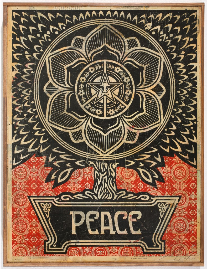 Shepard Fairey -  <strong>Peace Tree</strong> (2007<strong style = 'color:#635a27'></strong>)<bR /> stencil collage on paper 31 x 44 inches