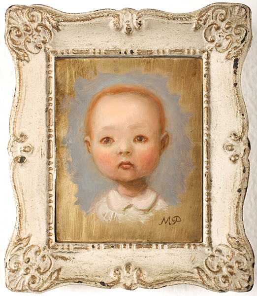 Marion  Peck -  <strong>Self Portrait as a Baby</strong> (2009<strong style = 'color:#635a27'></strong>)<bR /> oil on brass panel,   4 x 3 in. (10.2 x 7.6 cm),   5 3/4 x 4 7/8 in. (14.6 x 12.4 cm) framed