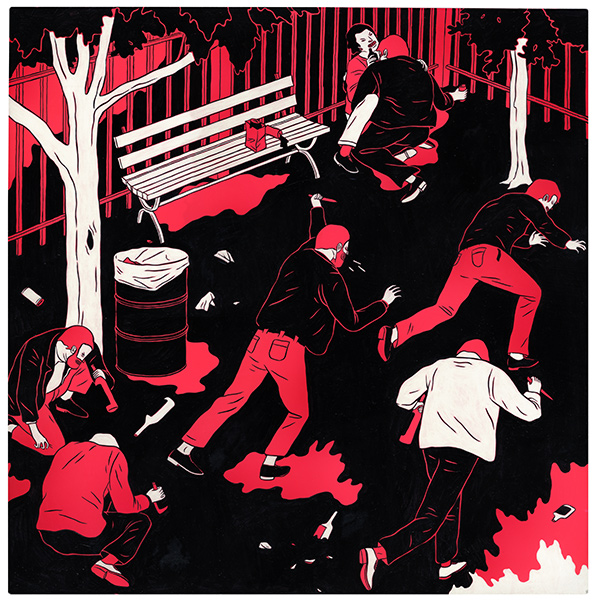 Cleon  Peterson -  <strong>The Prince of the Park</strong> (2009<strong style = 'color:#635a27'></strong>)<bR /> acrylic and spray paint on paper mounted on wood panel,   21 x 21 in. (53.3 x 53.3 cm)