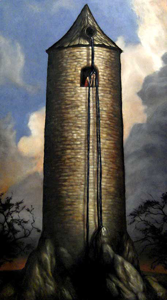 """Esao  Andrews -  <strong>Petrosinella</strong> (2007<strong style = 'color:#635a27'></strong>)<bR /> Oil on Wood,  <p class=""""MsoNormal""""><span style=""""font-family: Helvetica;"""">Image size: 36 x 20 inches,   </span>,  <p class=""""MsoNormal""""><span style=""""font-family: Helvetica;"""">Framed size: 41 3/4 x 25 1/4 inches</span>,  <p class=""""MsoNormal""""><span style=""""font-family: Helvetica;"""">,   </span>"""