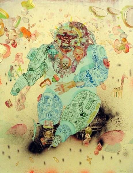 David  Choe -  <strong>Simian Dreams</strong> (<strong style = 'color:#635a27'></strong>)<bR /> Mixed media on wood,   22 1/2 x 16 3/4 inches