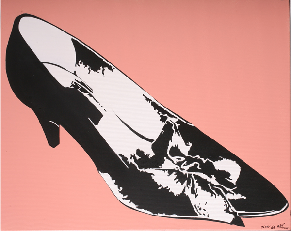 Blek le Rat  &nbsp -  <strong>Pink Shoe</strong> (2007<strong style = 'color:#635a27'></strong>)<bR /> Spraypaint on Canvas,   25 1/2 x 31 3/4 inches