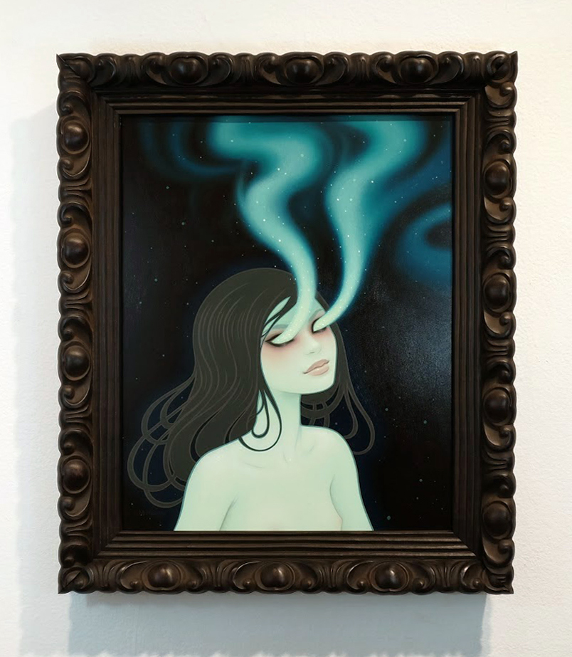 Tara  McPherson -  <strong>Secrets of the Polar Aurora</strong> (2014<strong style = 'color:#635a27'></strong>)<bR /> oil on wood panel,   16 x 20 inches  (40.64 x 50.80 cm)