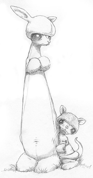 Scott  Musgrove -  <strong>Prairie Boxer & Kid</strong> (2010<strong style = 'color:#635a27'></strong>)<bR /> graphite on paper  10 x 5 inches (25.4 x 12.7 cm)  17.5 x 11 inches, framed