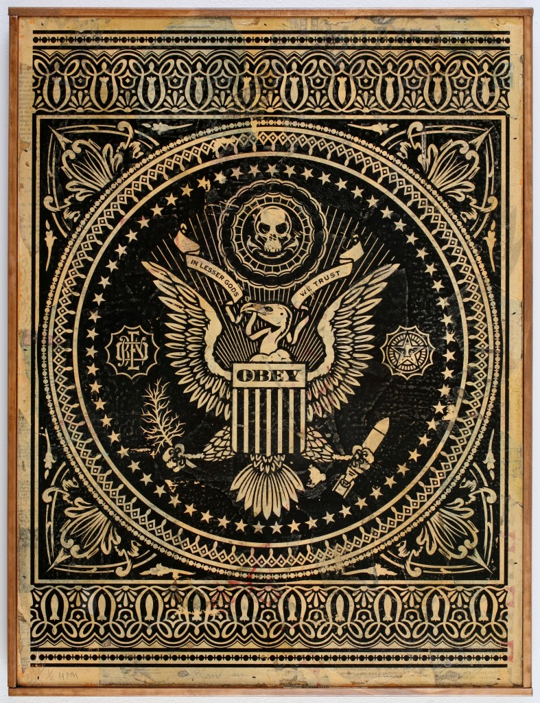 Shepard Fairey -  <strong>Presidential Seal (black)</strong> (2007<strong style = 'color:#635a27'></strong>)<bR /> hand painted multiple, screen on collaged wood 18 x 24 inches