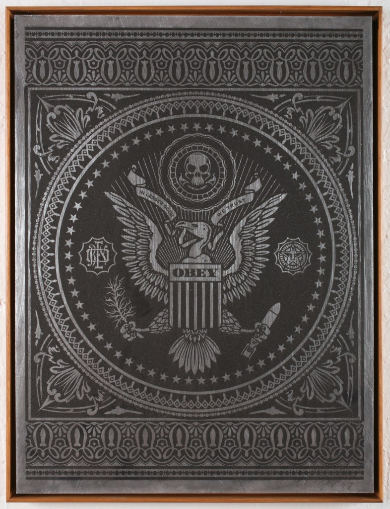 Shepard Fairey -  <strong>Presidential Seal</strong> (2007<strong style = 'color:#635a27'></strong>)<bR /> silkscreen on metal 18 x 24 inches
