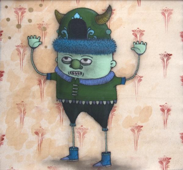 Márcio  Penha (aka Presto) -  <strong>Buffalo Hollow Hat</strong> (2010<strong style = 'color:#635a27'></strong>)<bR /> spray paint on canvas  49.5 x 50.5 inches   (125.73 x 128.27 cm)