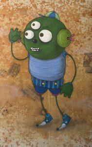 Márcio  Penha (aka Presto) -  <strong>É Nóis (It's Us)</strong> (2010<strong style = 'color:#635a27'></strong>)<bR /> acrylic and spray paint on canvas  57.75 x 38.5 inches   (146.69 x 97.79 cm)