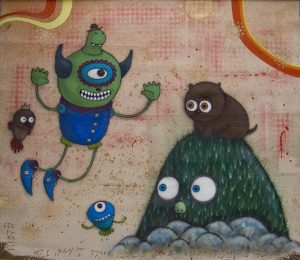 Márcio  Penha (aka Presto) -  <strong>Encontro (Encounter)</strong> (2010<strong style = 'color:#635a27'></strong>)<bR /> acrylic and spray paint on canvas  51.125 x 59 inches   (130 x 150 cm)