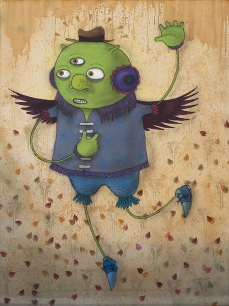 Márcio  Penha (aka Presto) -  <strong>Vagabundo Alado (Winged Vagabond)</strong> (2010<strong style = 'color:#635a27'></strong>)<bR /> spray paint on canvas  76.75 x 56.25 inches   (194.95 x 142.88 cm)