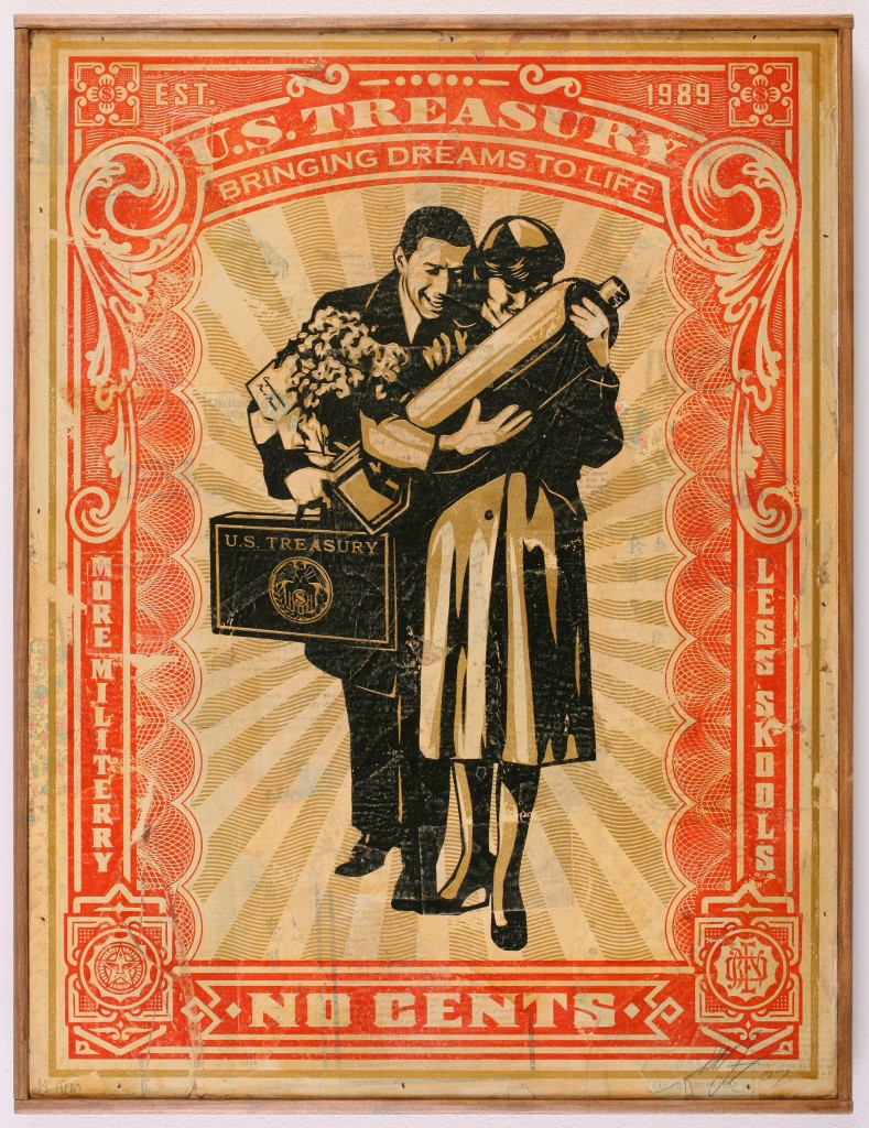Shepard Fairey -  <strong>Proud Parents</strong> (2007<strong style = 'color:#635a27'></strong>)<bR /> hand painted multiple, screened collage on wood 18 x 24 inches
