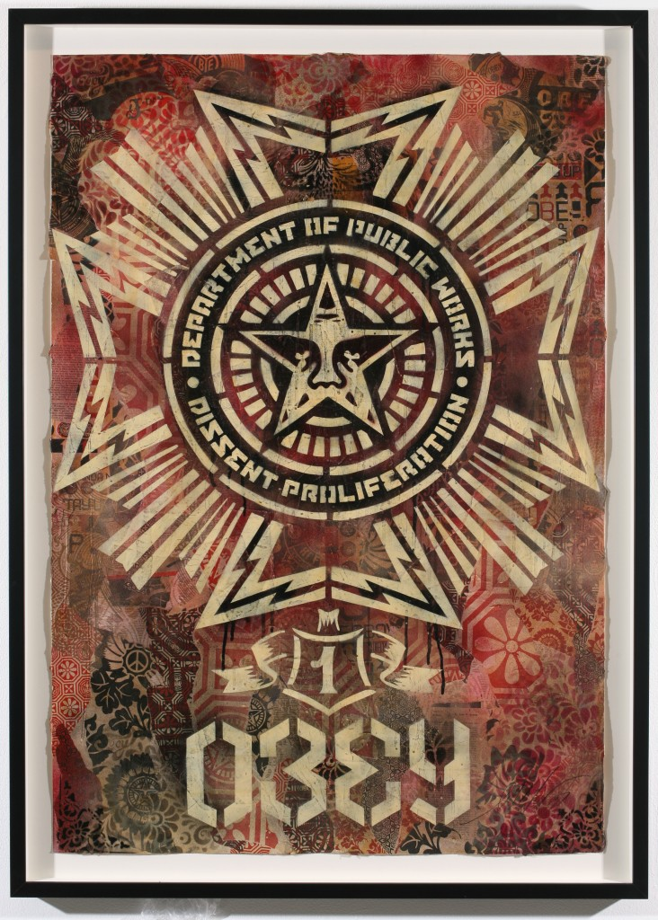 Shepard Fairey -  <strong>Public Works Medal</strong> (2007<strong style = 'color:#635a27'></strong>)<bR /> stencil collage on paper 30 x 44 inches