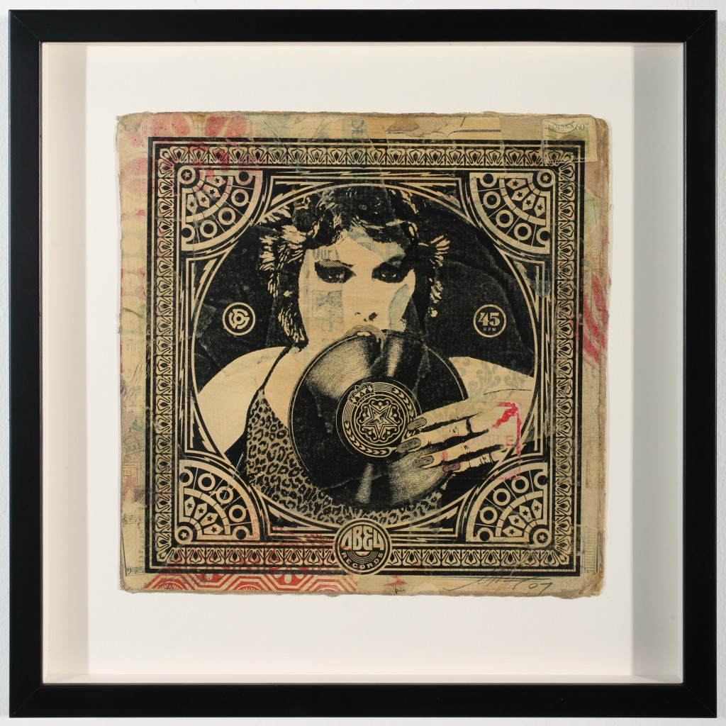 Shepard Fairey -  <strong>Punk Girl</strong> (2007<strong style = 'color:#635a27'></strong>)<bR /> hand painted multiple, silkscreen collage on album cover 12 x 12 inches