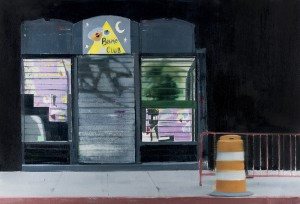 Brett Amory -  <strong>Pyramid Club (Waiting #241)</strong> (2015<strong style = 'color:#635a27'></strong>)<bR /> oil on canvas,   24 x 36 inches  (60.96 x 91.44 cm)