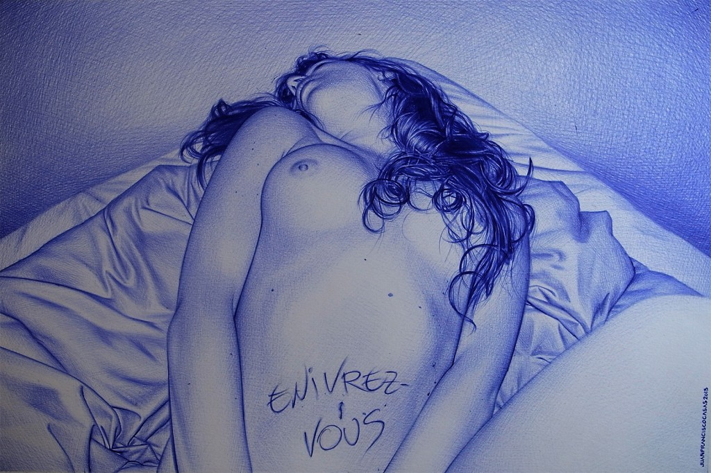 Juan Francisco  Casas -  <strong>Envirez-Vous</strong> (2013<strong style = 'color:#635a27'></strong>)<bR /> Bic ballpen on paper,   10 3/8 x 15 3/4 inches  (26.5 x 40 cm)