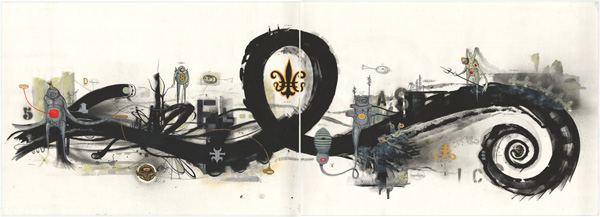 Doze  Green -  <strong>Untitled</strong> (2005<strong style = 'color:#635a27'></strong>)<bR /> Mixed Media on Paper ,   Diptych,   82 x 29 1/2 inches