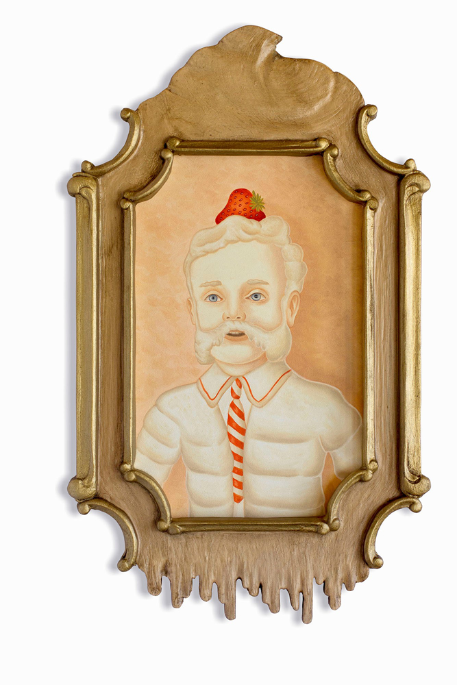 Rafael  Silveira -  <strong>Allegory of Time Opus 1</strong> (2014<strong style = 'color:#635a27'></strong>)<bR /> oil on canvas, custom carved frame,   19.75 x 11.75 inches  (50.17 x 29.85 cm)