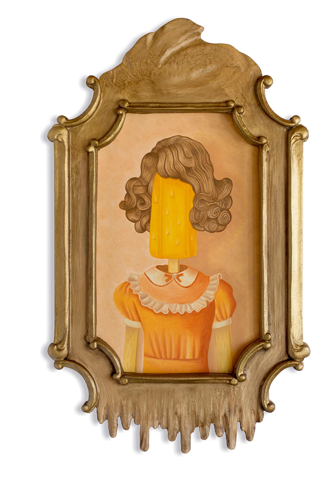 Rafael  Silveira -  <strong>Allegory of Time Opus 2</strong> (2014<strong style = 'color:#635a27'></strong>)<bR /> oil on canvas, custom carved frame,   19.75 x 11.75 inches  (50.17 x 29.85 cm)