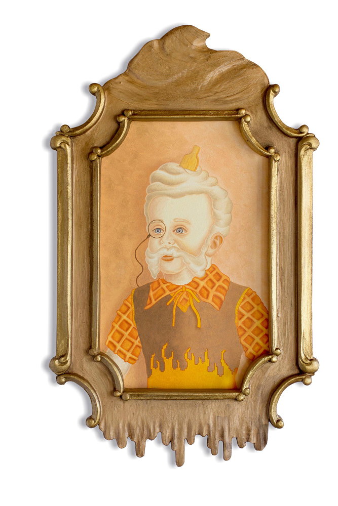 Rafael  Silveira -  <strong>Allegory of Time Opus 3</strong> (2014<strong style = 'color:#635a27'></strong>)<bR /> oil on canvas, custom carved framed,   19.75 x 11.75 inches  (50.17 x 29.85 cm)