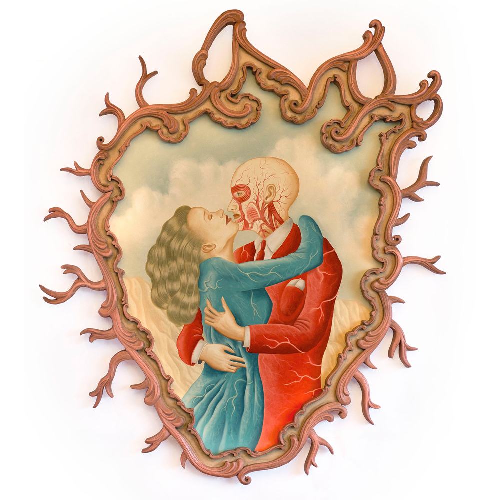 Rafael  Silveira -  <strong>The Anatomic Couple</strong> (2014<strong style = 'color:#635a27'></strong>)<bR /> oil on canvas, custom carved frame,   36 x 31.5 inches  (91.44 x 80.01 cm)