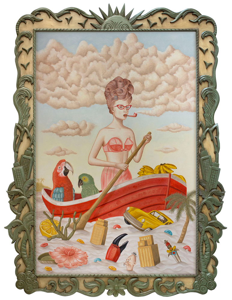 Rafael  Silveira -  <strong>At Full Stream</strong> (2014<strong style = 'color:#635a27'></strong>)<bR /> oil on canvas, custom carved frame,   42 x 31.5 inches  (106.68 x 80.01 cm)