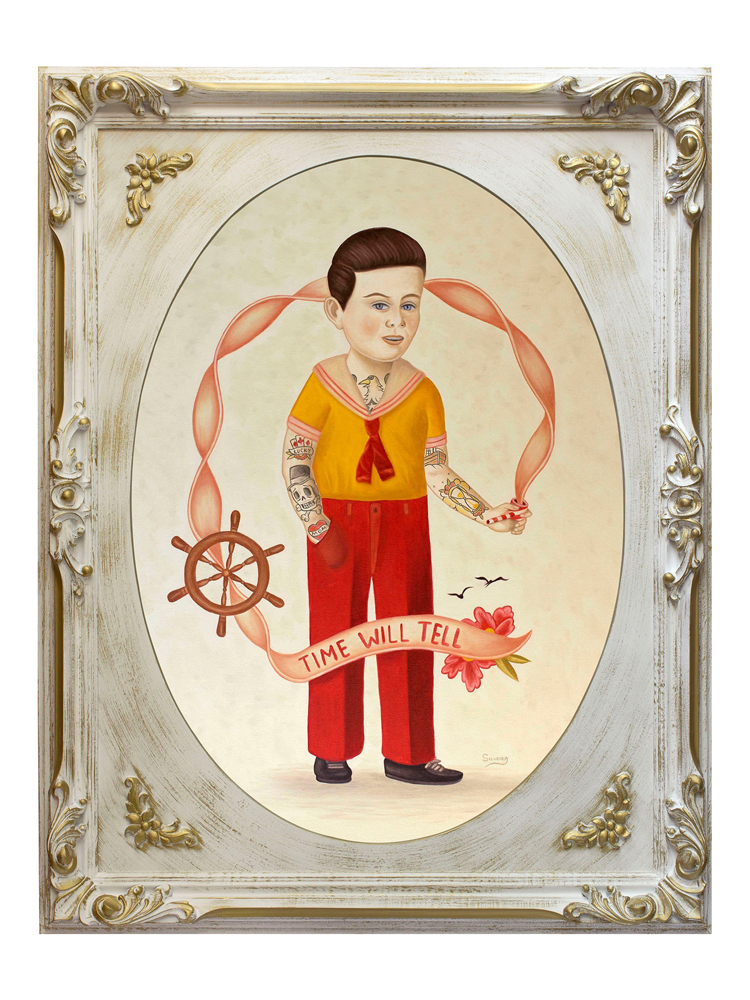 Rafael  Silveira -  <strong>Time Will Tell</strong> (2014<strong style = 'color:#635a27'></strong>)<bR /> oil on canvas, classic ornated frame,   39 x 31.5 inches  (99.06 x 80.01 cm)