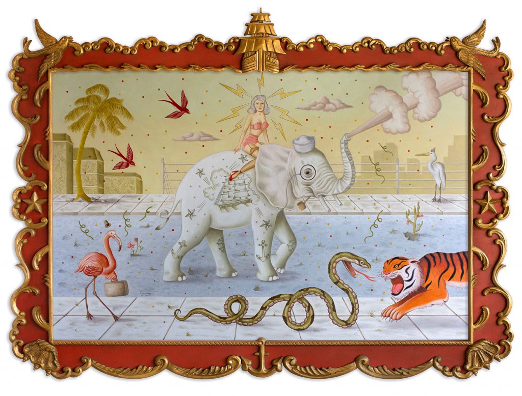 Rafael  Silveira -  <strong>Wild Life</strong> (2014<strong style = 'color:#635a27'></strong>)<bR /> oil on canvas, custom carved frame,   43 x 58 inches  (109.22 x 147.32 cm)