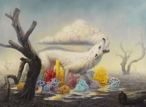Martin Wittfooth -  <strong>Rainsong</strong> (2015<strong style = 'color:#635a27'></strong>)<bR /> oil on canvas,   73 x 100 inches  (185.42 x 254 cm)