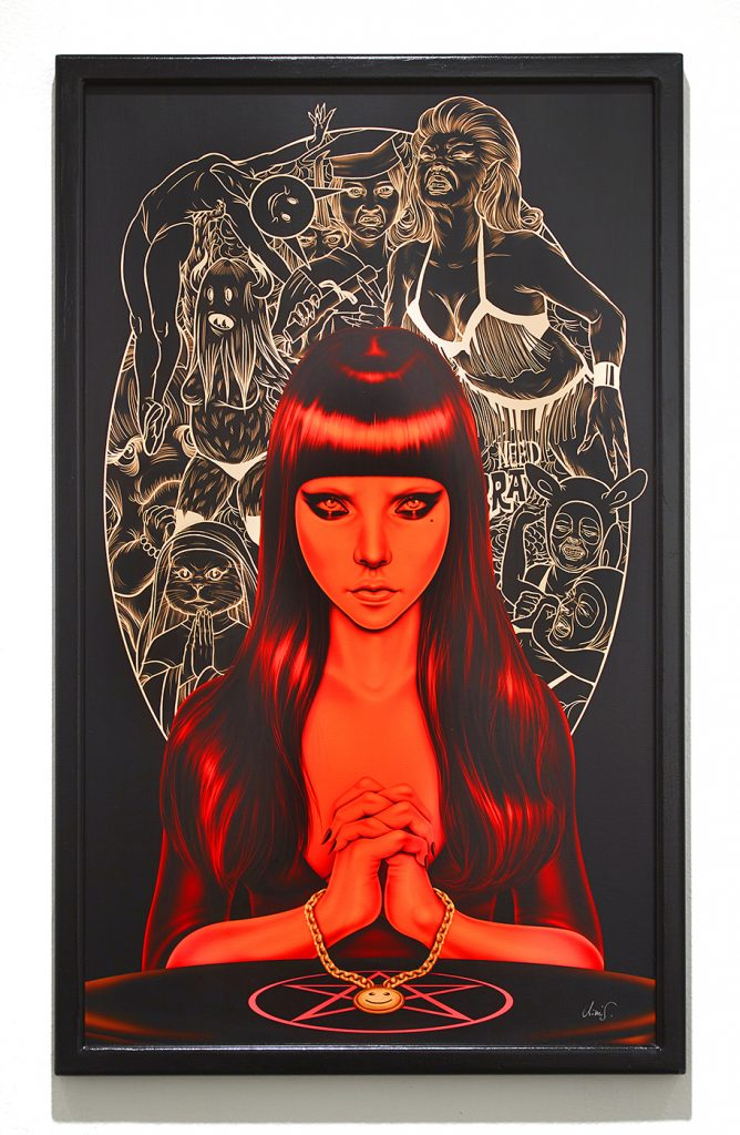 Mimi  Scholz -  <strong>Raising hell</strong> (<strong style = 'color:#635a27'></strong>)<bR /> digital painting printed on Hahnemühle acid free / photo matte / fibre sealed with Lascaux UV acrylic varnish,   35.43 x 21.26 inches  (90 x 54 cm)  edition 1 of 1