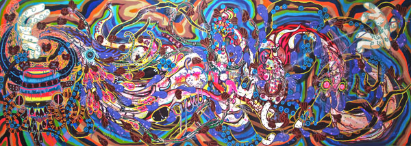 Ramon  Martins -  <strong>Plocantropía</strong> (2010<strong style = 'color:#635a27'></strong>)<bR /> marker and spray paint on canvas  57.875 x 161.375 inches (147 x 410 cm)