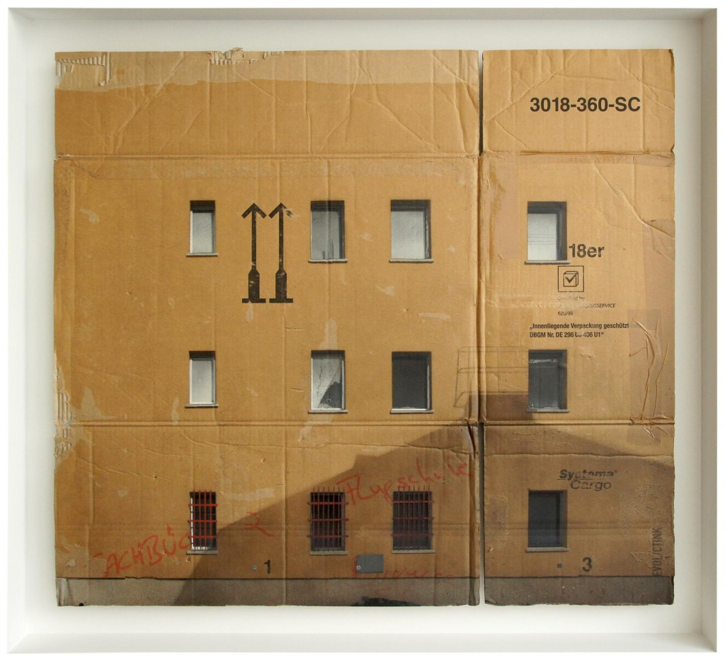 EVOL  &nbsp -  <strong>Rather Shady Part of Lichtenberg</strong> (2014<strong style = 'color:#635a27'></strong>)<bR /> spray paint on cardboard,   32.63 x 36.25 inches  (83 x 92 cm)  95.5 x 104.5 x 10 cm, framed