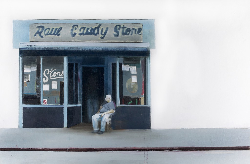 Brett Amory -  <strong>Raul Candy Store</strong> (2015<strong style = 'color:#635a27'></strong>)<bR />  oil on canvas,   24 x 36 inches,  (60.96 x 91.44 cm)