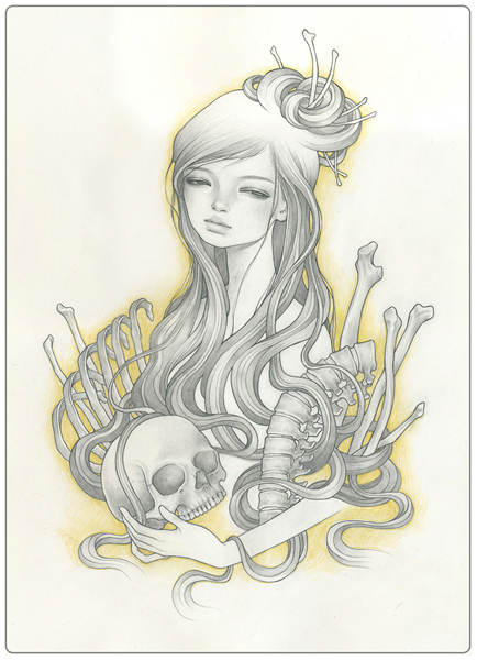 Audrey  Kawasaki -  <strong>Reconcile</strong> (2009<strong style = 'color:#635a27'></strong>)<bR /> UltraChrome print on 300 gsm paper,   17.5 x 11.75 inches (44.45 x 29.85 cm)  20.25 x 14.5 inches, framed,   Edition 45 of 75