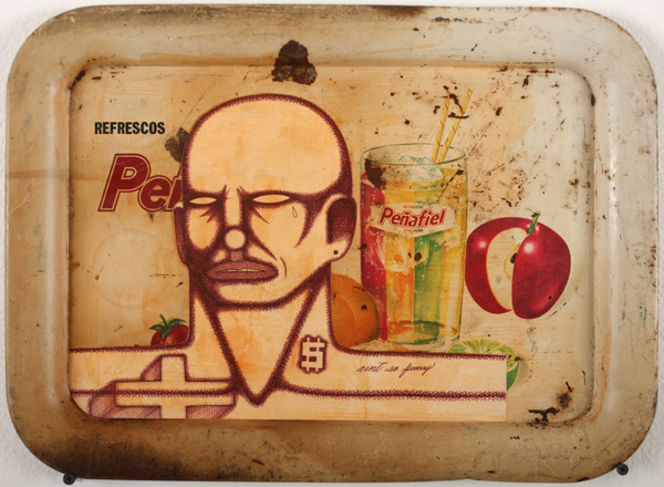 Date Farmers  &nbsp -  <strong>Refrescos</strong> (2010<strong style = 'color:#635a27'></strong>)<bR /> mixed media on found metal tray,   12 x 12 x 1 inches  (30.48 x 30.48 x 2.54 cm)