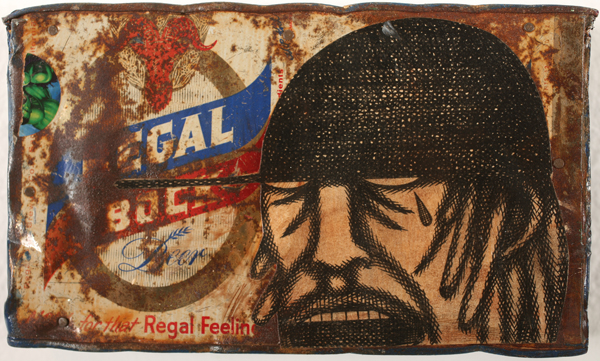 Date Farmers  &nbsp -  <strong>Regal Beer</strong> (2008<strong style = 'color:#635a27'></strong>)<bR /> mixed media on metal,   4.75 x 8 x 1.5 inches  (12.07 x 20.32 x 3.81 cm)