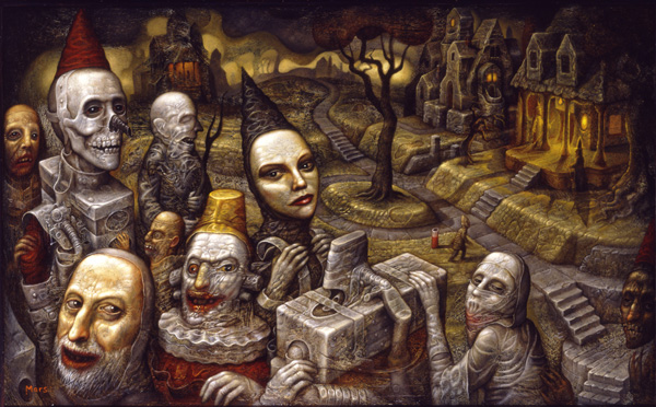 Chris  Mars -  <strong>Resurrection of the Condemned</strong> (2007<strong style = 'color:#635a27'></strong>)<bR /> Oil on Panel,   31 x 20 inches