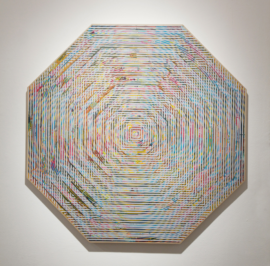 Revok     -  <strong>A1.3</strong> (2014<strong style = 'color:#635a27'></strong>)<bR /> latex, acrylic and oil enamel on wood panel,   48 x 48 inches  (121.92 x 121.92 cm)