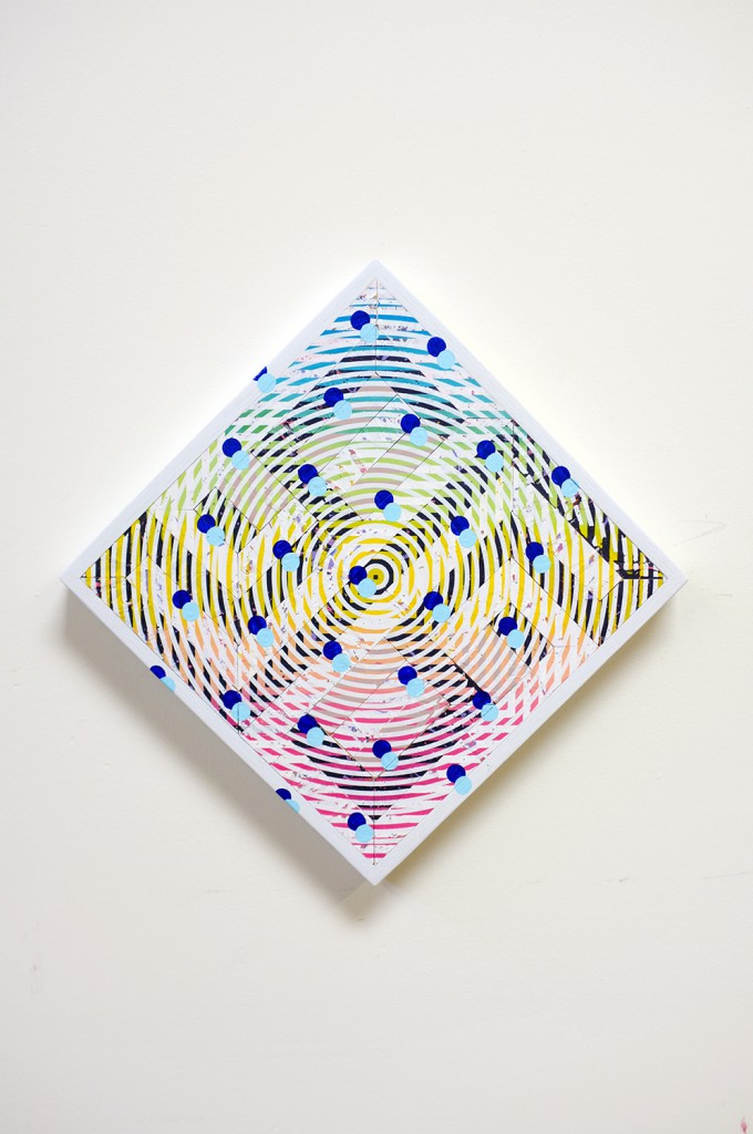 Revok     -  <strong>E1.52</strong> (2014<strong style = 'color:#635a27'></strong>)<bR /> acrylic, synthetic polymer and oil enamel on wood assemblage,   20 x 20 inches  (50.80 x 50.80 cm)