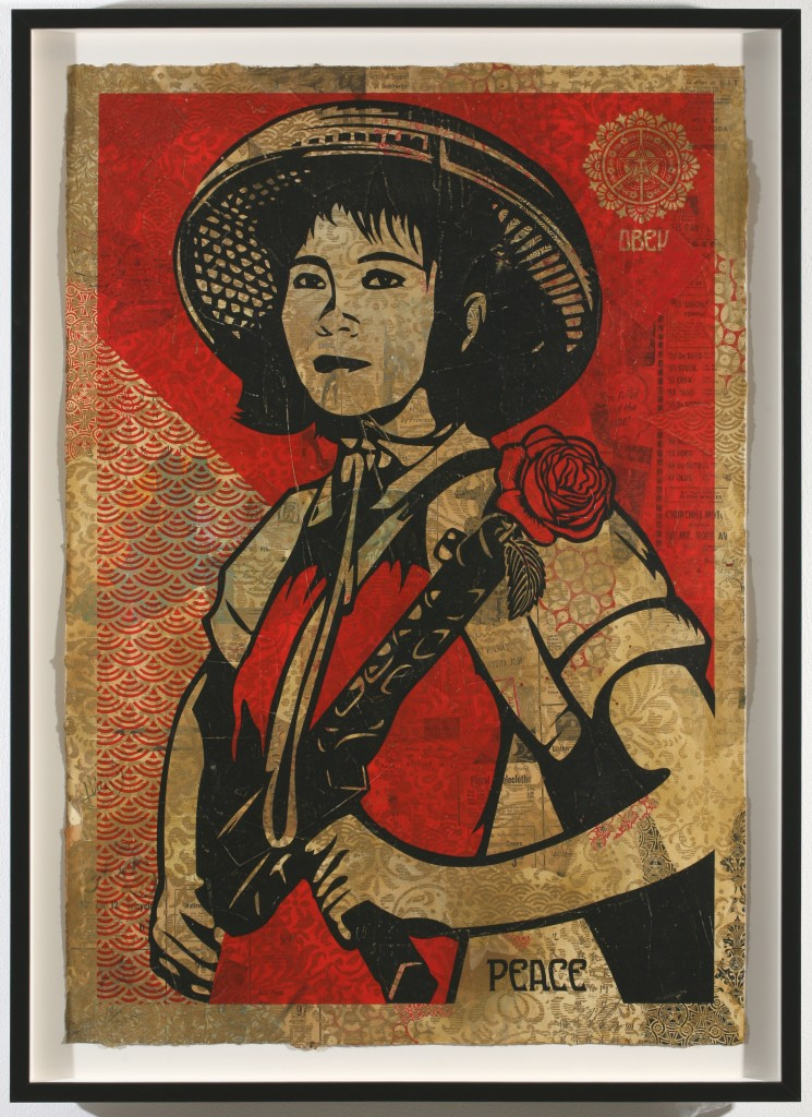 Shepard Fairey -  <strong>Revolutionary Woman</strong> (2007<strong style = 'color:#635a27'></strong>)<bR /> hand painted multiple, screened collage on paper 29 x 42 inches