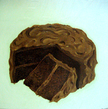 Martha  Rich -  <strong>Deluxe Cake Lovin'</strong> (2009<strong style = 'color:#635a27'></strong>)<bR /> mixed media on wood,   approx. 24 x 24 in.