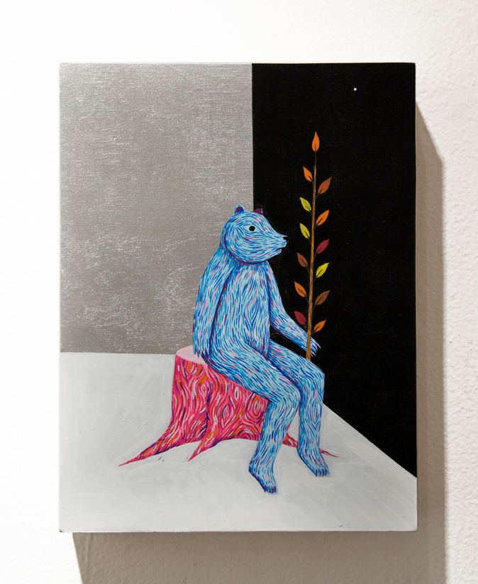 Richard  Colman -  <strong>Seated Bear (Blue)</strong> (2011<strong style = 'color:#635a27'></strong>)<bR /> acrylic and spray paint on wood,   12 x 9 inches  (30.4 x 22.9 cm)