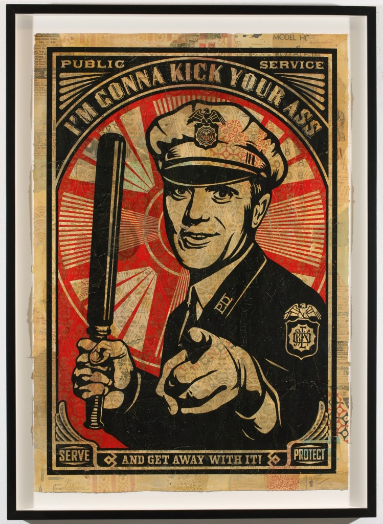 Shepard Fairey -  <strong>Rise Above Cop</strong> (2007<strong style = 'color:#635a27'></strong>)<bR /> hand painted multiple, screened collage on paper 29 x 42 inches