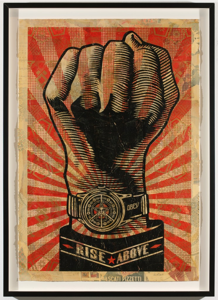 Shepard Fairey -  <strong>Rise Above Fist</strong> (2007<strong style = 'color:#635a27'></strong>)<bR /> hand painted multiple, screened collage on paper 29 x 42 inches